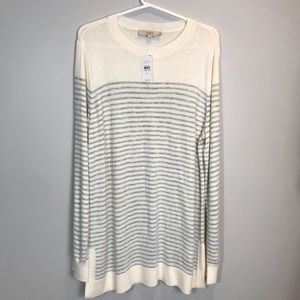 Ann Taylor Loft White Gray Stripe Sweater XL